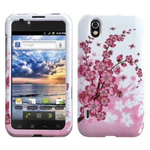 Insten Spring Flowers Hard Case For LG Marquee/Optimus Black - White/Pink