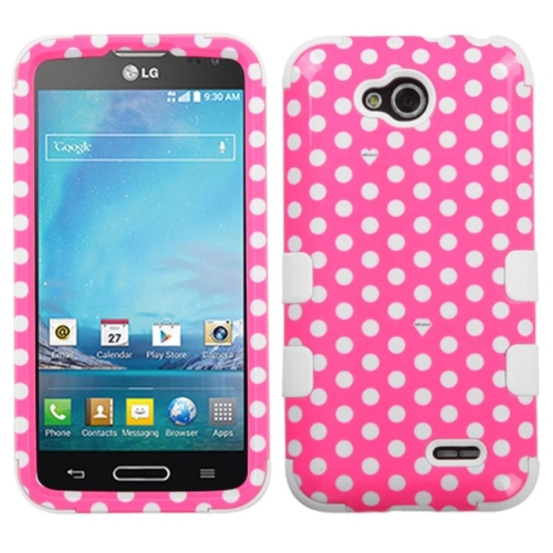 Insten Tuff Dots Hard Hybrid Rubber Coated Silicone Cover Case For LG Optimus L90 - Pink/White