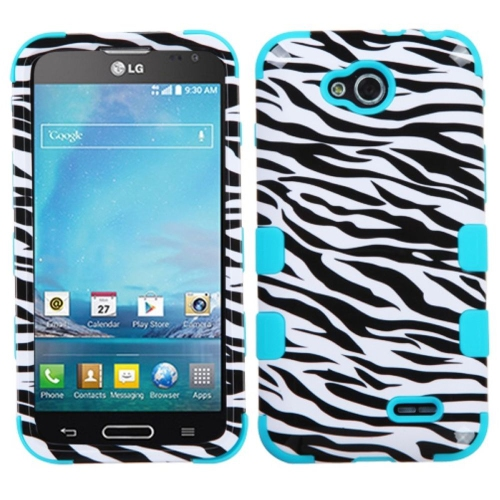 Insten Tuff Zebra Hard Hybrid Rubber Coated Silicone Case For LG Optimus L90 - Black/White