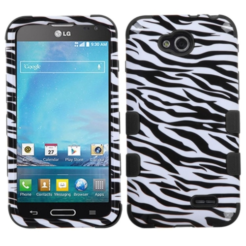 Insten Tuff Zebra Hard Hybrid Rubber Silicone Cover Case For LG Optimus L90 - Black/White