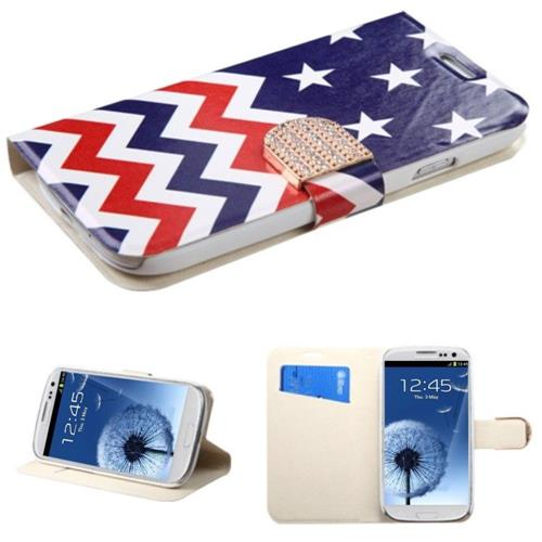 Insten Stars Wave Book-Style Leather Fabric Case w/stand/card holder/Diamond For Samsung Galaxy S3