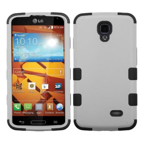 Insten Tuff Hard Dual Layer Rubberized Silicone Case For LG Volt - White/Black
