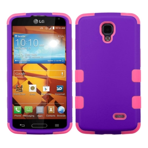 Insten Tuff Hard Dual Layer Rubberized Silicone Cover Case For LG Volt - Purple/Pink