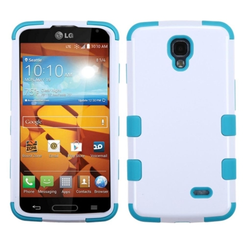 Insten Tuff Hard Dual Layer Rubberized Silicone Cover Case For LG Volt - White/Blue