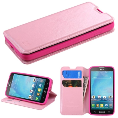 Insten Flip Leather Fabric Cover Case w/stand/card slot For LG Optimus L90 - Pink