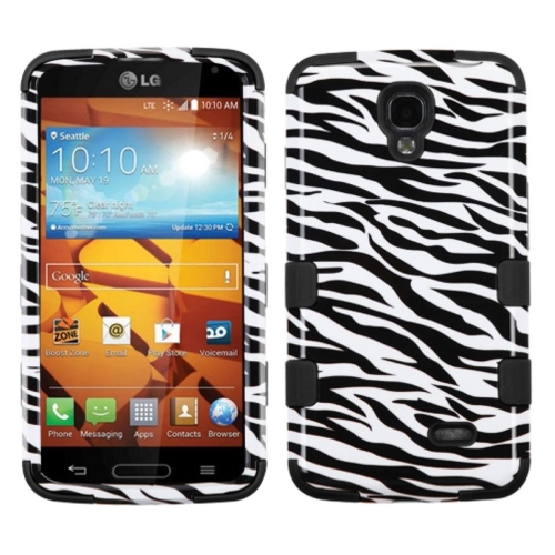 Insten Tuff Zebra Hard Hybrid Rubberized Silicone Case For LG Volt - Black/White