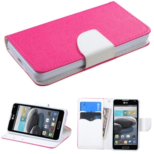 Insten Folio Leather Fabric Case w/stand/card slot For LG Optimus F6 MS500 - White