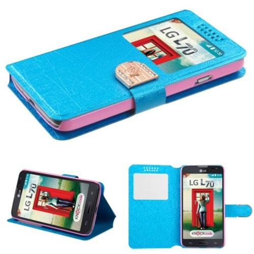 Insten Leather Fabric Case w/stand For LG Optimus Exceed 2 VS450PP Verizon/Optimus L70, Blue/Gold