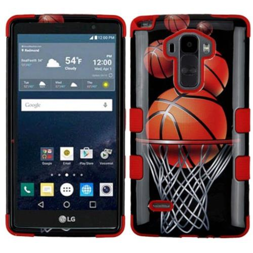 Insten Basketball Hoop Hard Hybrid Rubber Silicone Case For LG G Stylo LS770/G Vista 2, Black/Orange