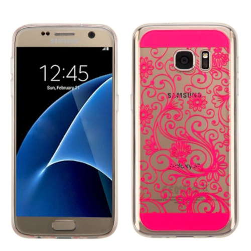 Insten Four-leaf Clover Gel Cover Case For Samsung Galaxy S7 - Hot Pink