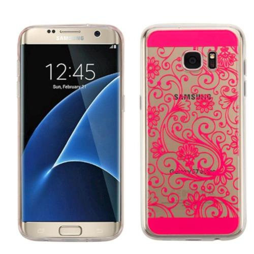 Insten Four-leaf Clover Rubber Case For Samsung Galaxy S7 Edge - Hot Pink
