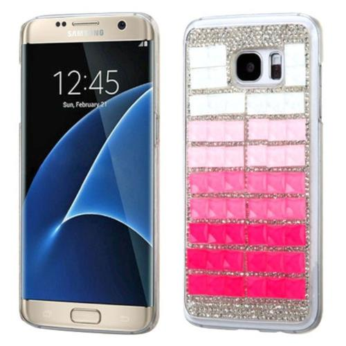 Insten Hard Bling Cover Case For Samsung Galaxy S7 Edge - Pink/White