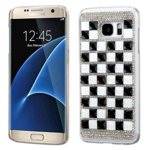 Insten Hard Diamante Cover Case For Samsung Galaxy S7 Edge - Black/White