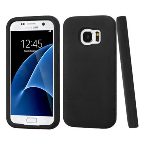 Insten Verge Hard Hybrid Rubberized Silicone Case For Samsung Galaxy S7 - Black