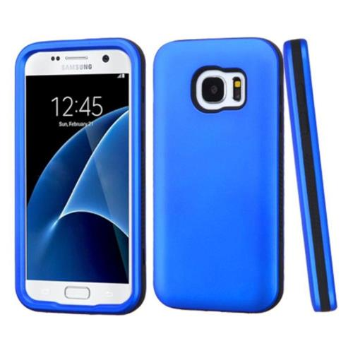 Insten Verge Hard Dual Layer Rubber Silicone Case For Samsung Galaxy S7 - Blue/Black
