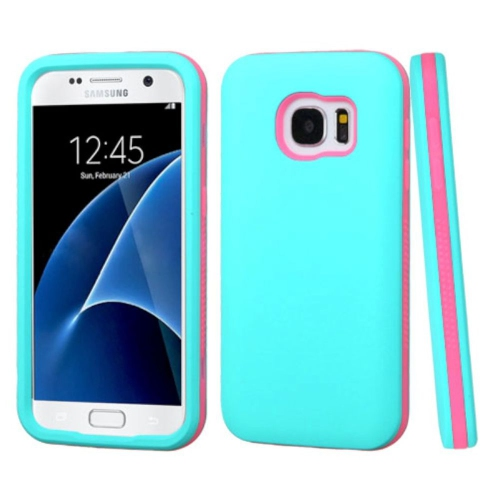 Insten Fitted Soft Shell Case for Samsung Galaxy S7 - Teal; Pink