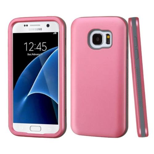 Insten Verge Hard Hybrid Silicone Case For Samsung Galaxy S7 - Pink/Gray