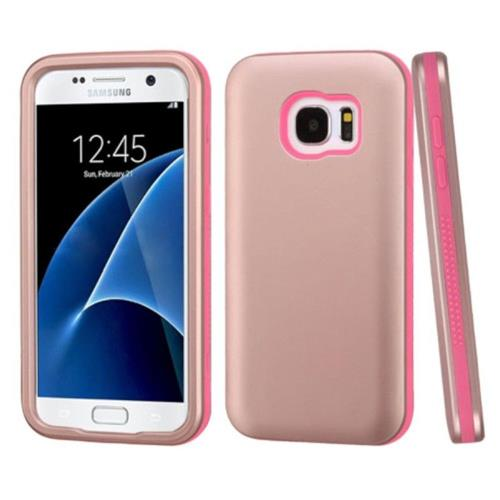 Insten Verge Hard Dual Layer Rubber Silicone Case For Samsung Galaxy S7 - Rose Gold/Pink