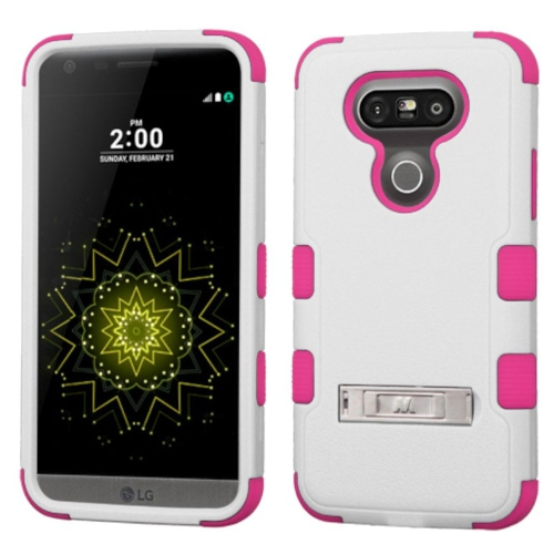 Insten Hard Dual Layer Silicone Cover Case w/stand For LG G5 - White/Pink