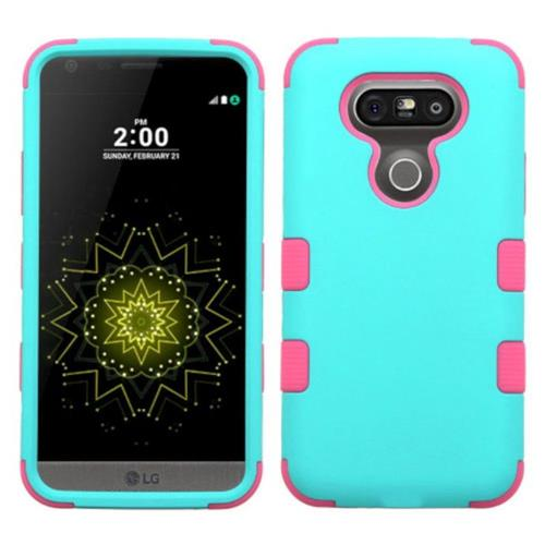 Insten Tuff Hard Hybrid Rubber Silicone Case For LG G5 - Teal/Pink
