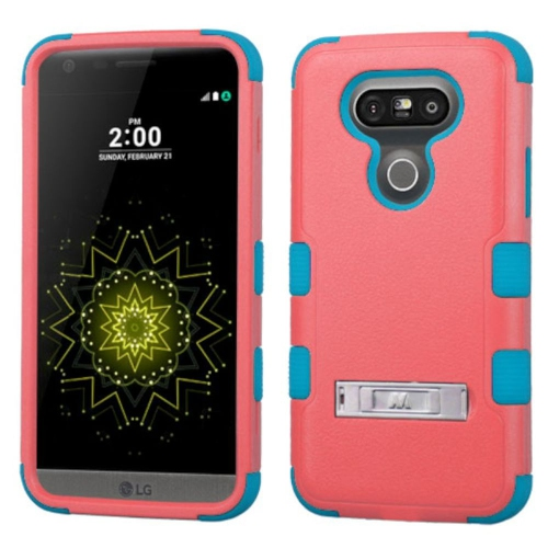 Insten Hard Hybrid Rubber Coated Silicone Case w/stand For LG G5 - Red/Teal