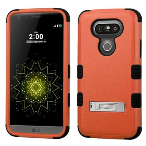 Insten Hard Dual Layer Rubberized Silicone Case w/stand For LG G5 - Orange/Black