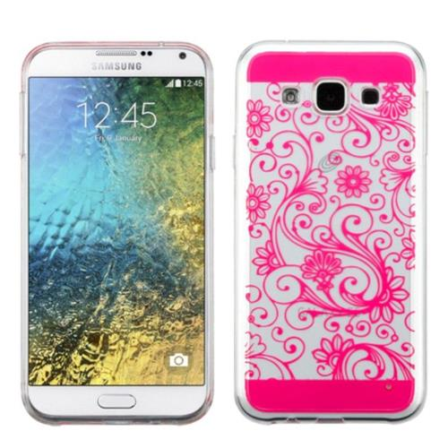 Insten Four-leaf Clover Rubber Cover Case For Samsung Galaxy E5 - Hot Pink