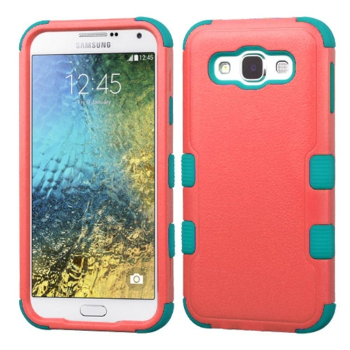 Insten Tuff Hard Hybrid Rubber Coated Silicone Cover Case For Samsung Galaxy E5 - Red/Blue