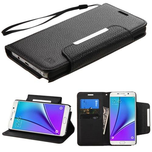 Insten Folio Leather Fabric Case Lanyard w/stand/card slot For Samsung Galaxy Note 5 - Black