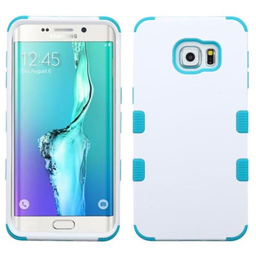 Insten Tuff Hard Hybrid Rubber Silicone Case For Samsung Galaxy S6 Edge Plus - White/Teal