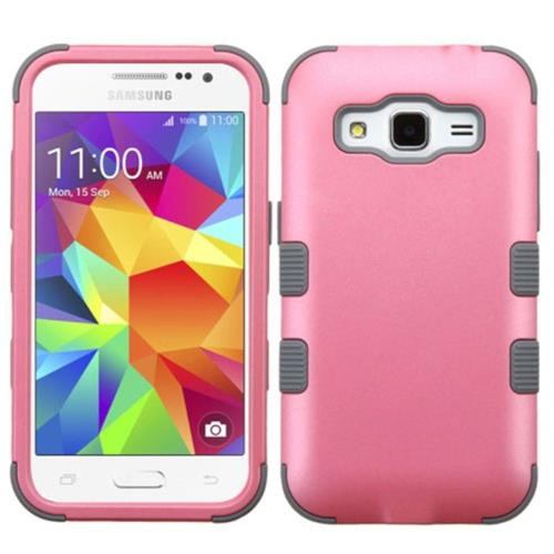 Insten Tuff Hard Hybrid Rubber Silicone Case For Samsung Galaxy Core Prime - Pink/Gray