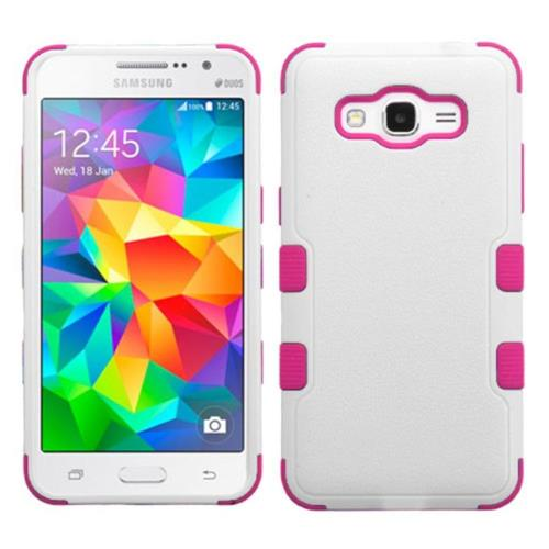 Insten Tuff Hard Hybrid Rubber Silicone Cover Case For Samsung Galaxy Grand Prime - Pink/White