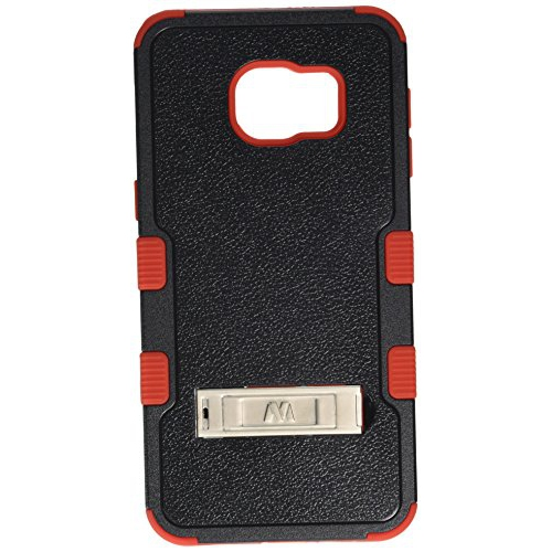 Insten Hard Hybrid Rubber Silicone Cover Case w/stand For Samsung Galaxy S6 Edge Plus, Black/Red