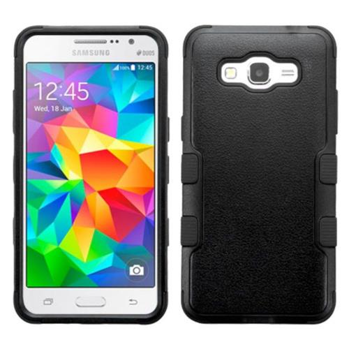 Insten Tuff Hard Dual Layer Rubberized Silicone Cover Case For Samsung Galaxy Grand Prime - Black