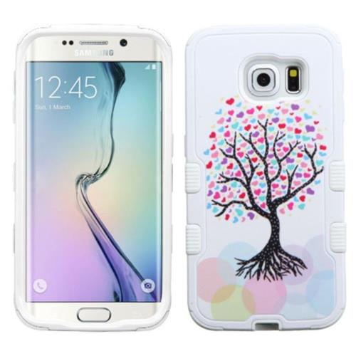 Insten Love Tree Hard Rubber Coated Silicone Cover Case For Samsung Galaxy S6 Edge, Pink/White