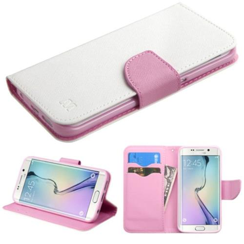 Insten Folio Case for Samsung Galaxy S6 Edge - White;Pink