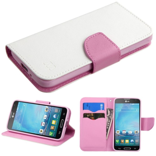 Insten Flip Leather Fabric Case w/stand/card holder/Diamond For LG Optimus L90 - White/Pink
