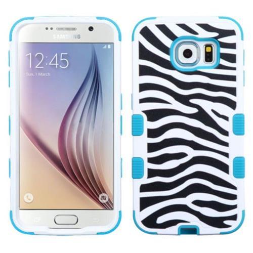 Insten Tuff Zebra Hard Dual Layer Rubber Silicone Case For Samsung Galaxy S6 - Black/White