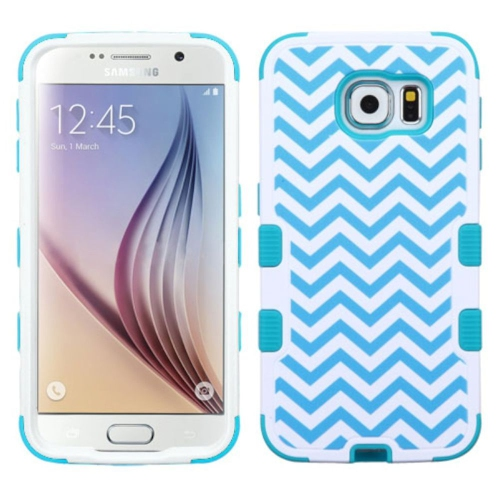 Insten Tuff Wave Hard Hybrid Rubber Silicone Case For Samsung Galaxy S6 - Blue/White