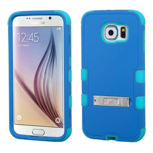 Insten Hard Hybrid Silicone Case w/stand For Samsung Galaxy S6 - Blue/Teal