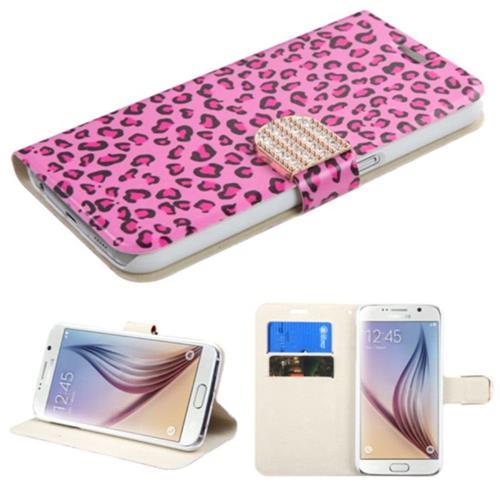 Insten Leopard Folio Case w/stand/card slot/Diamond For Samsung Galaxy S6, Hot Pink/Black