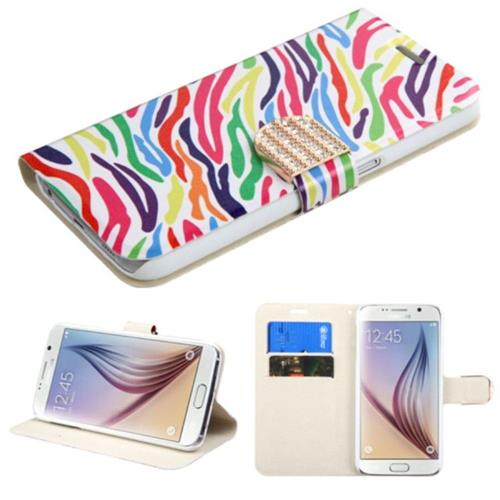 Insten Zebra Folio Leather Fabric Case w/stand/card holder/Diamond For Samsung Galaxy S6 - Colorful