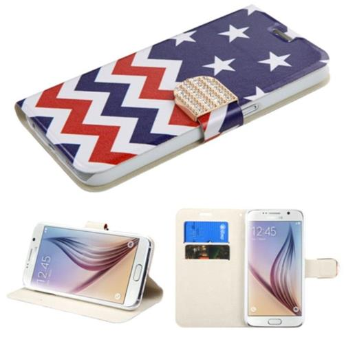 Insten Stars Wave Leather Fabric Case w/stand/card slot/Diamond For Samsung Galaxy S6, Blue/White
