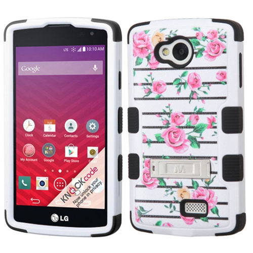 Insten Fresh Roses Hard Rubberized Silicone Cover Case w/stand For LG Optimus F60, White/Pink