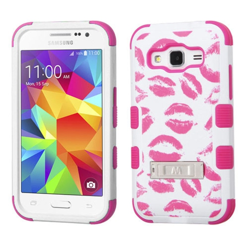 Insten Tuff Kisses Hard Hybrid Silicone Case w/stand For Samsung Galaxy Core Prime - Hot Pink/White