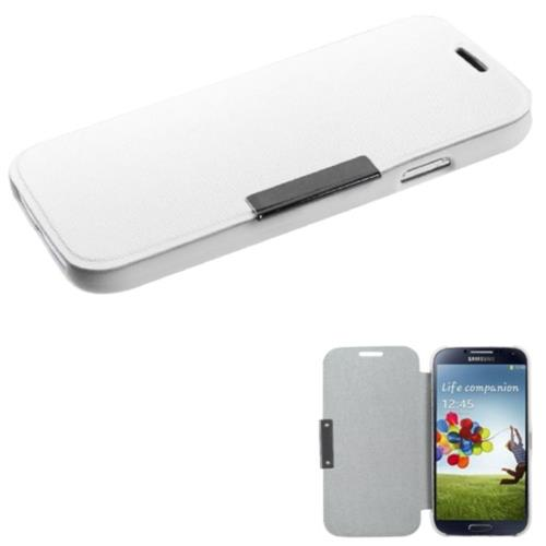 Insten Folio Leather Fabric Case For Samsung Galaxy S4/S4 (LTE version) - White