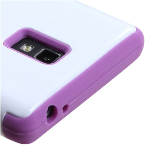Insten Tuff Hard Dual Layer Silicone Case For LG Optimus L9 P769 - White/Purple