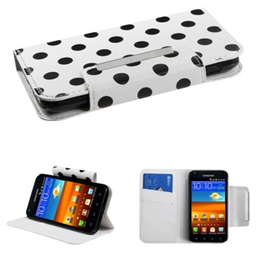 Insten Polka Dots Flip Case w/stand For Samsung Galaxy S2 Epic 4G Touch D710, White/Black