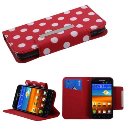 Insten Polka Dots Flip Case w/stand For Samsung Galaxy S2 Epic 4G Touch D710, Red/White
