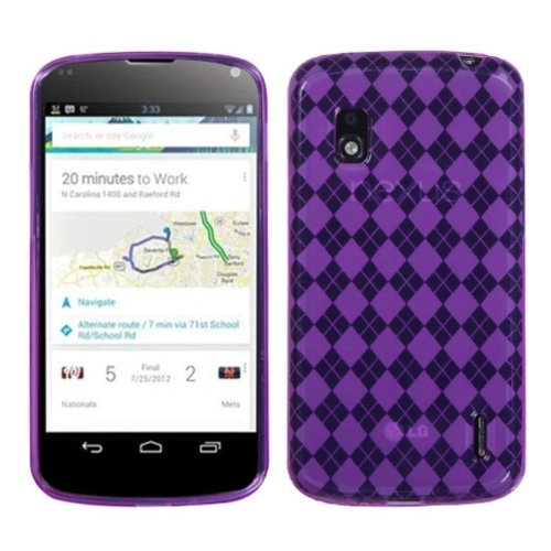 Insten Argyle TPU Transparent Case For LG Google Nexus 4 E960 - Purple